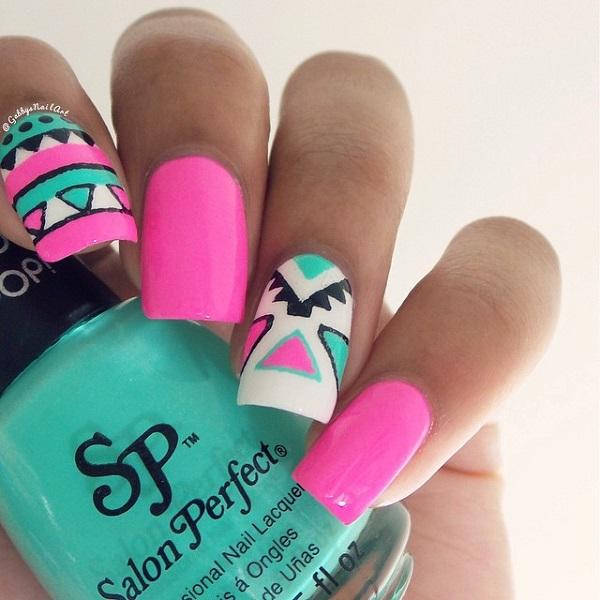 65 Colorful Tribal Nails Make You Look Unique | Art and Design
