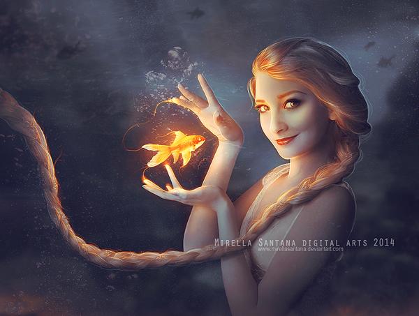 elsa_and_goldfish__version__by_mirellasantana