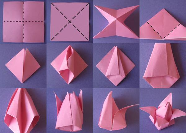 Tulips2 - Easy Origami instructions For Kids | 428x600