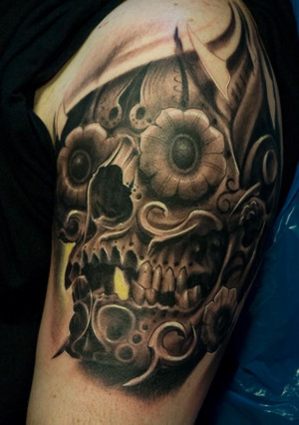 sreampunk skull tattoo600_852