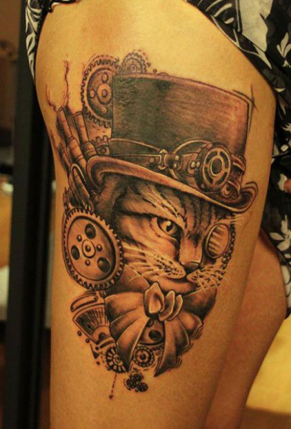 steampunk cat tattoo600_884