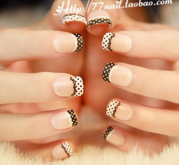 Nail Tip Designs Ideas french tips with rhinestone nail design 2014 nail tip designs ideas Check Out This Lace Themed French Tip Looking Very Cute And Artsy The Nails