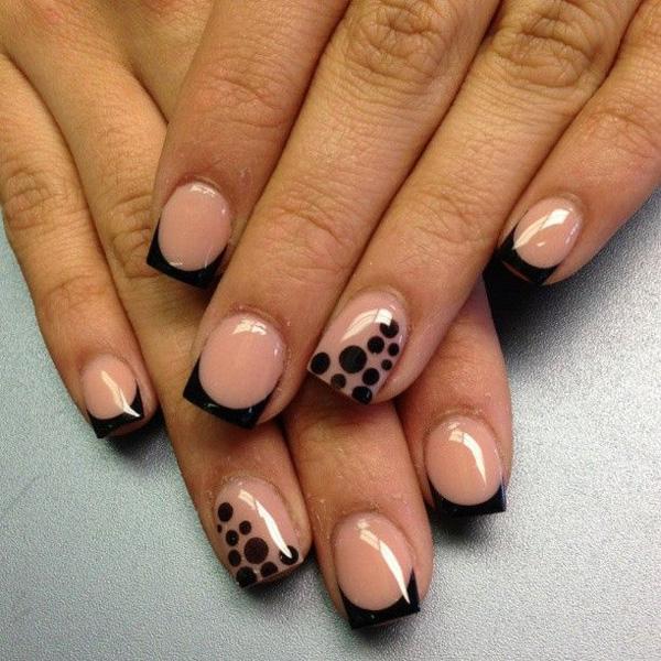 Black polka dots French nail design