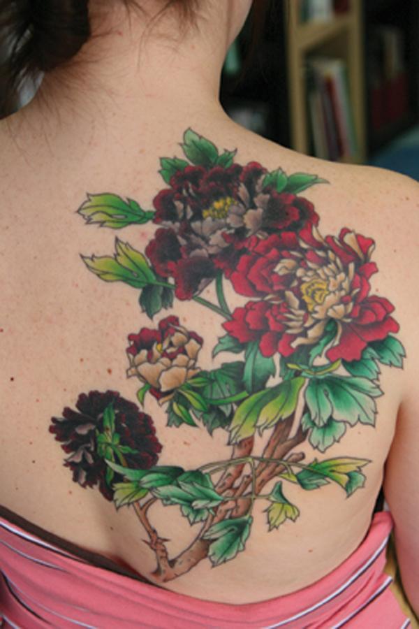 14 Peony tattoo on back