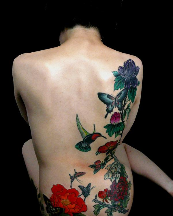 18 Peony tattoo on back