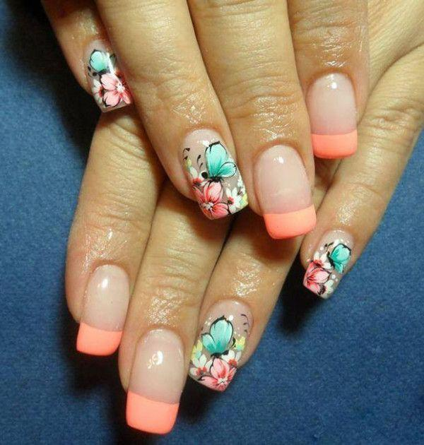 floral and butterfly French Manicure nail design for Spring