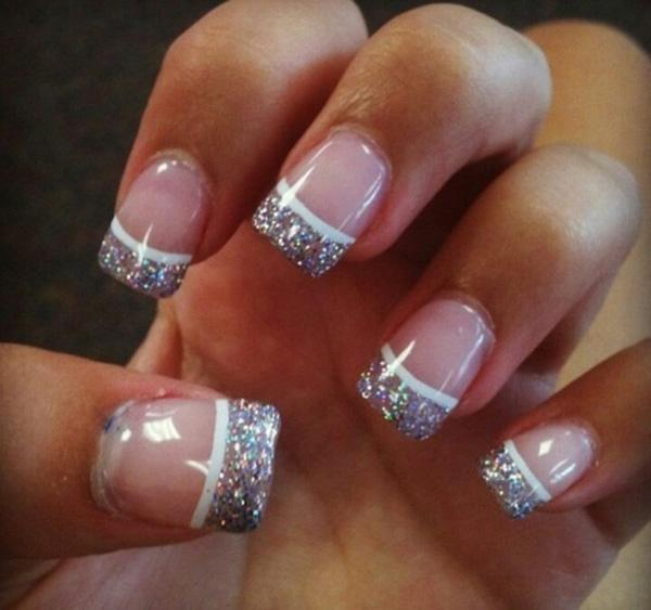 Set the trends with this crazy glittery French manicure. Based with clear  nail polish, ... - 70 Ideas Of French Manicure Art And Design