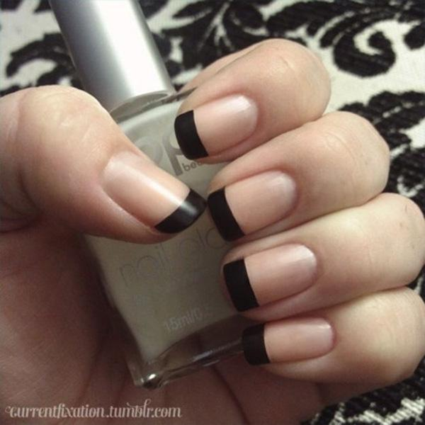 22 Black French Manicure
