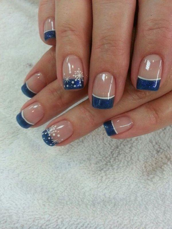 Sensational looking snowflake inspired French manicure. The nails are  coated with clear polish as base ... - 70 Ideas Of French Manicure Art And Design
