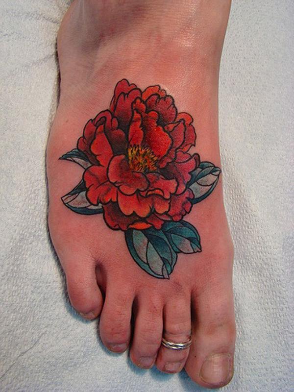 25 Peony tattoo on foot