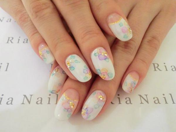 Start your day with this fresh and white nail art design. Watercolor flower  petals have ... - 65 Japanese Nail Art Designs Art And Design