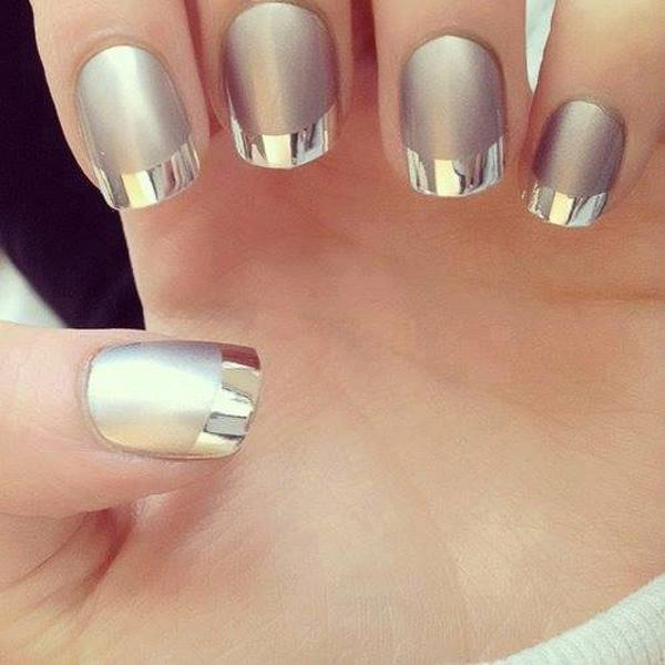 Talk about metallic nails. This futuristic French tipped nails looks  awesome is it uses a ... - 70 Ideas Of French Manicure Art And Design