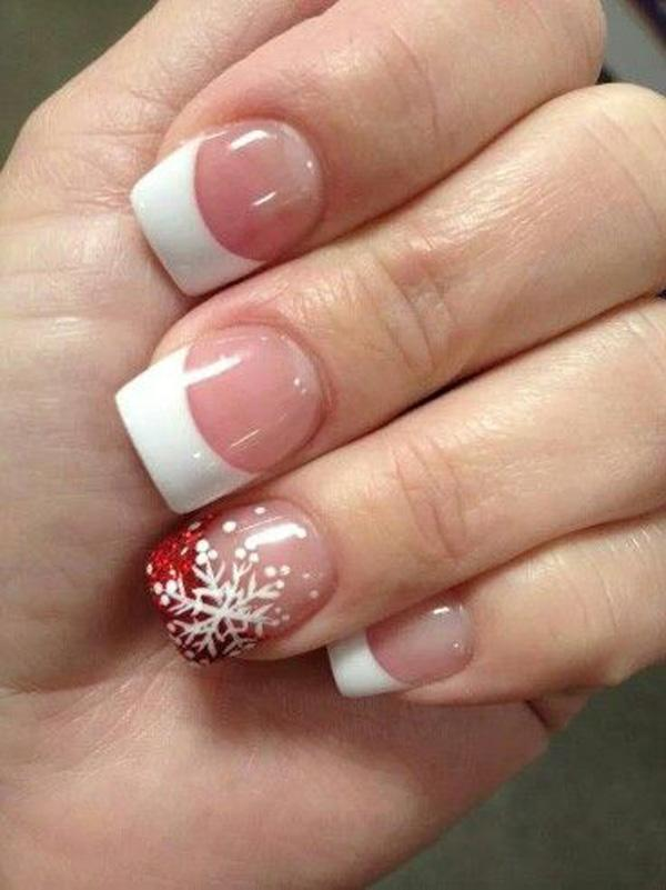 32 French Manicure with red snowflake nail