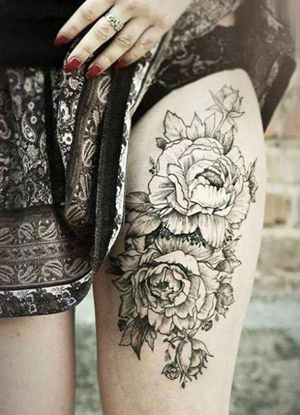 32 Peony tattoo on thigh