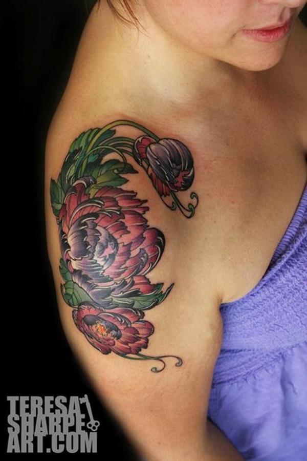 34 peony flower tattoo