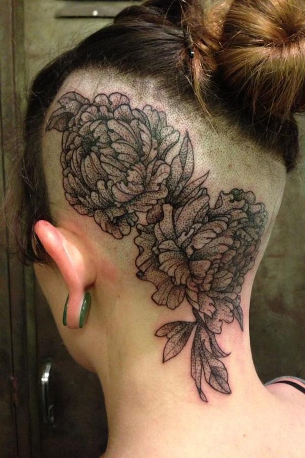 35 Peony tattoo on head