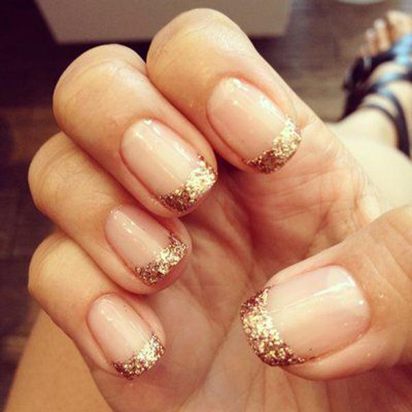 35 gold bling french manicure