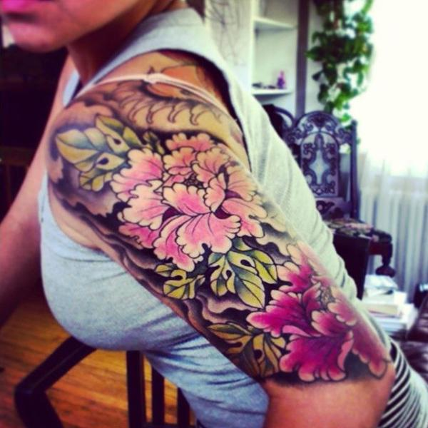 36 Peony tattoo on sleeve