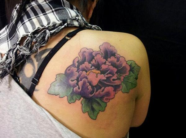 37 Peony tattoo on back