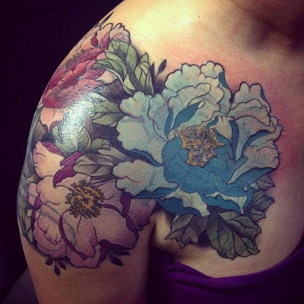 39 Peony tattoo on shoulder