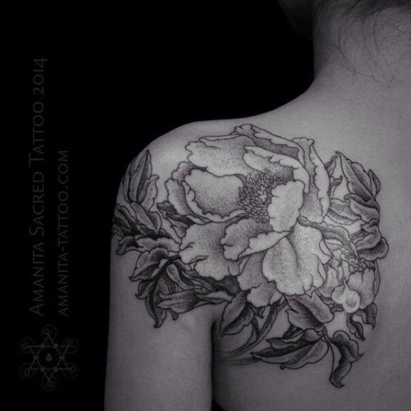 40 Peony tattoo on shoulder