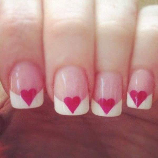 41 A Heart French Manicure