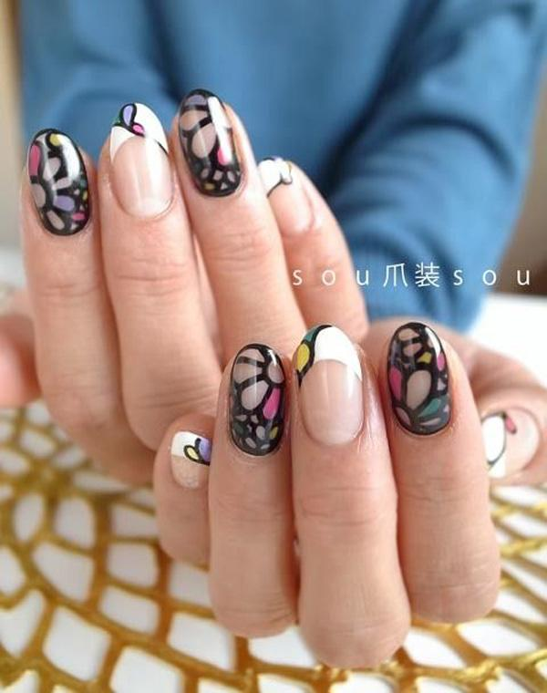 This nail art absolutely amazing. The flowers seem to be in close up view and mimic what you see through a kaleidoscope. A very fun and warm looking nail art. This is perfect for those who would like to look edgy with their nails yet retain a fresh and clean look.