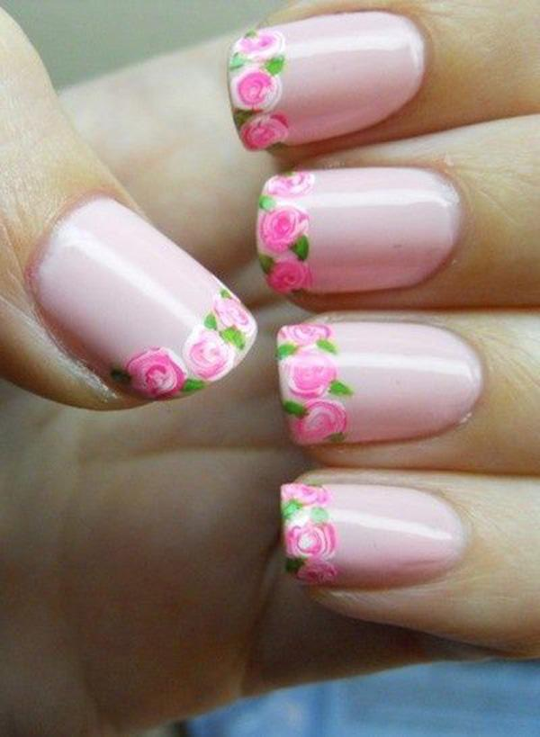 43 Flower French Manicure