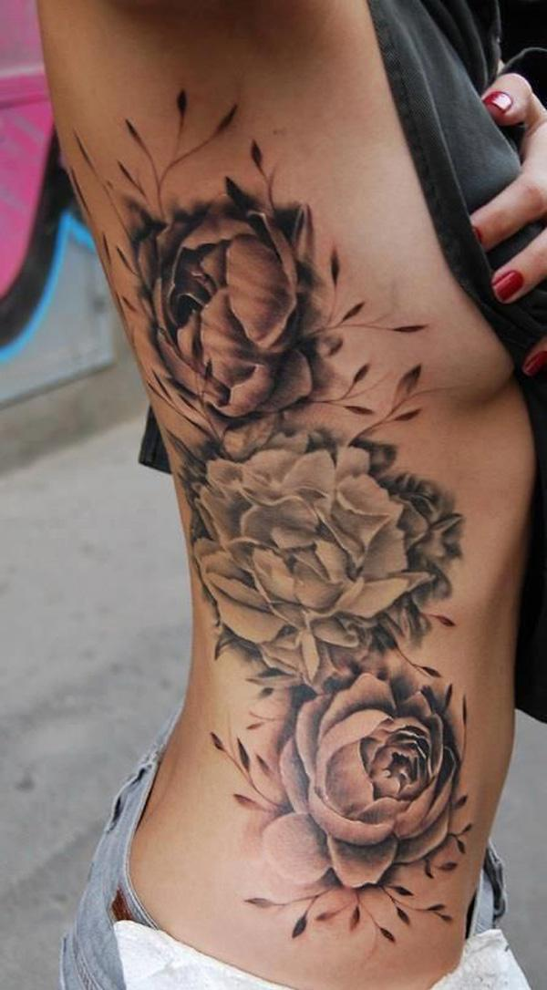 45 Peony tattoo on side