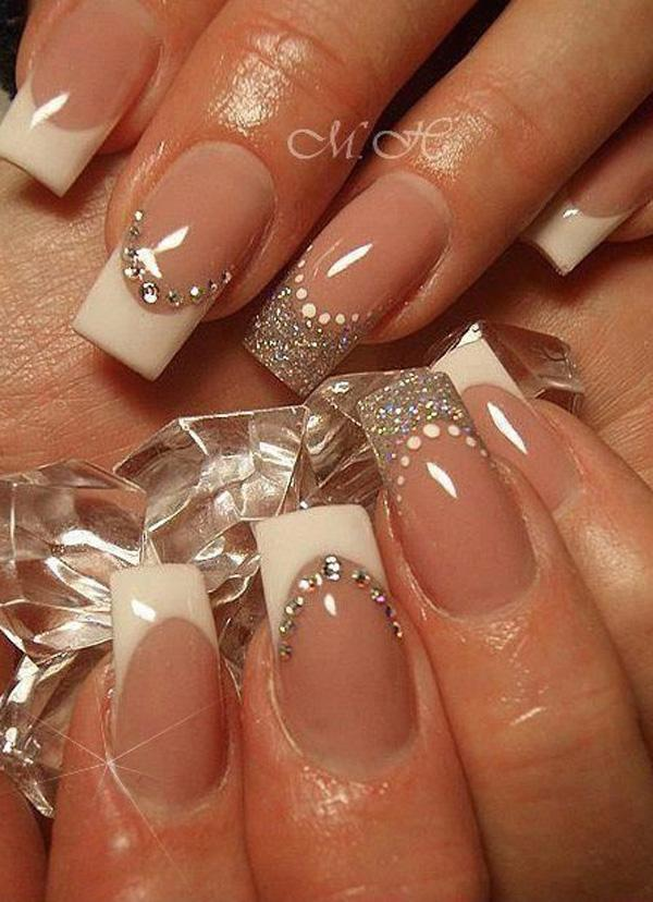 Fill your nails with this wonderful ensemble of glitters and beads! This  French manicure starts ... - 70 Ideas Of French Manicure Art And Design