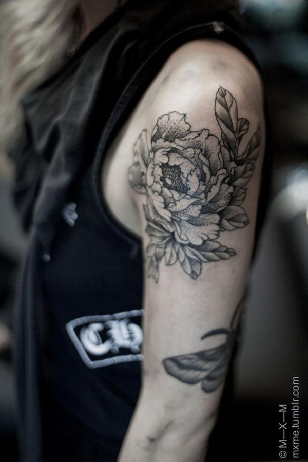 47 Peony tattoo on sleeve