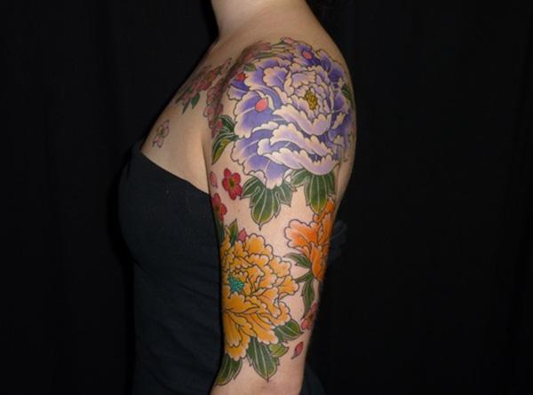 48 Peony tattoo on sleeve