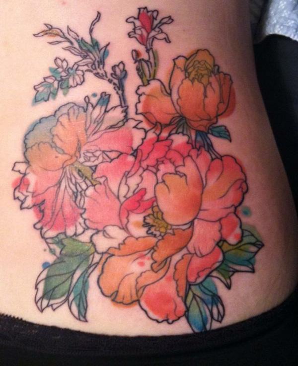 5 Peony tattoo
