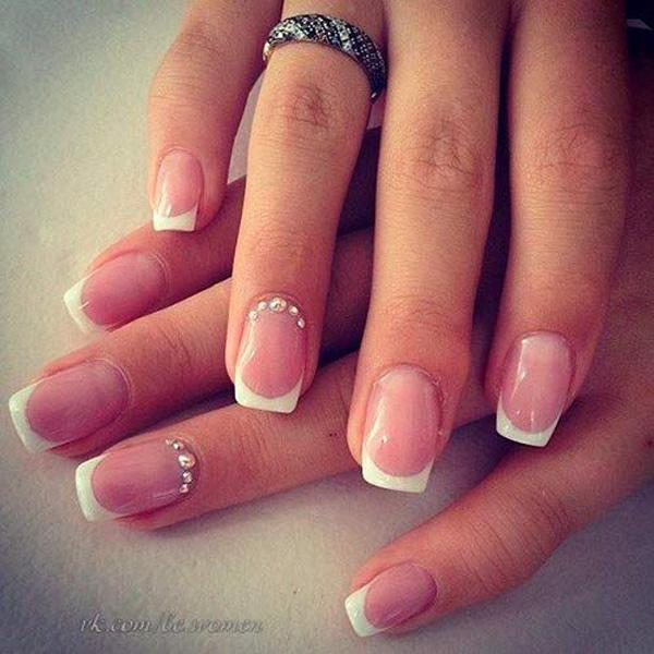 a simple yet pretty french manicure for short square nails start off with a light