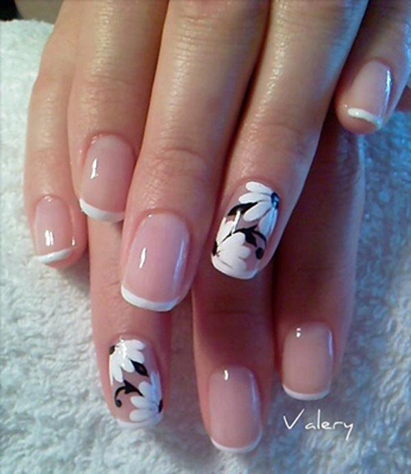 Glowing floral French nail design