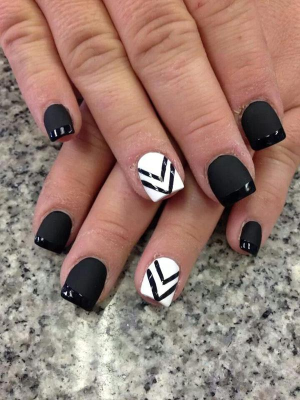 black is beautiful in this eye catching and definitely one of a kind french manicure - Nail Tip Designs Ideas