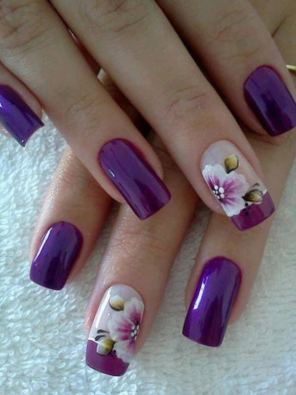 59 Purple Flower French Manicure
