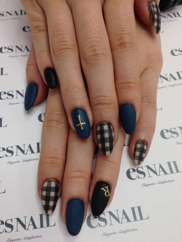 65 japanese nail art designs art and design almond nails with the dark blue and black shades are prinsesfo Choice Image