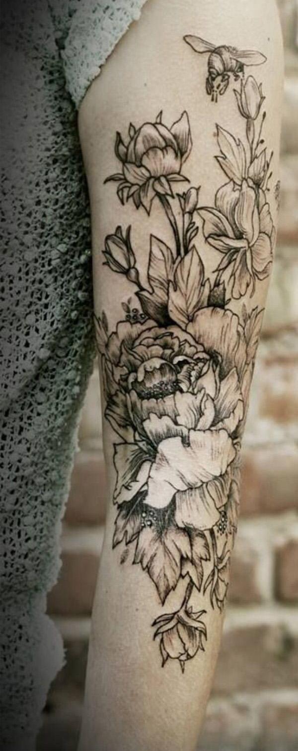 6 Peony tattoo on sleeve