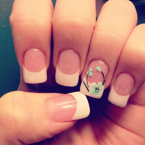 Simple floral French nail design
