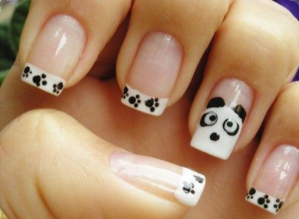 Cute panda inspired French manicure. Use clear nail polish as the base of  the French ... - 70 Ideas Of French Manicure Art And Design
