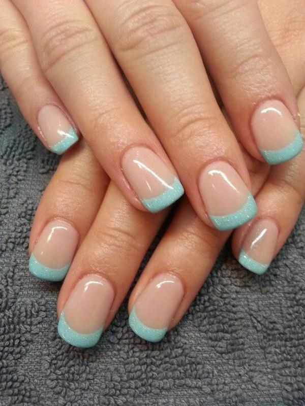 Baby blue and glitter inspired French manicure. The nails use a clear  polish as the ... - 70 Ideas Of French Manicure Art And Design