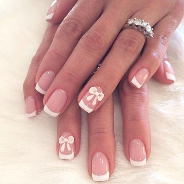 Bows French nail design