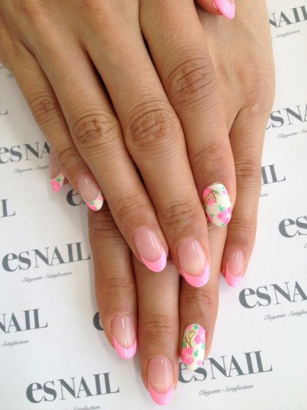 70 pink french nails