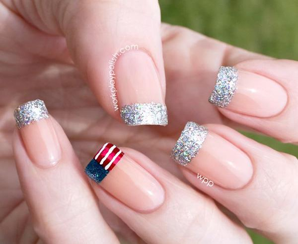 American And Glitter Inspired French Tips Coat Your Nails In Matte Cream Color While Tipping