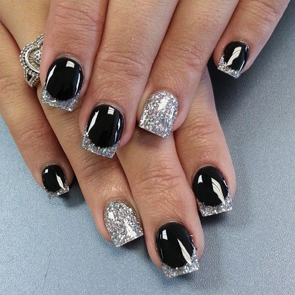lovely looking white and silver french tips coated in matte black as base - Nail Tip Designs Ideas