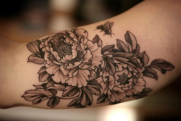 Black and white peony tattoo a mix of ink pinterest for 333 tattoo meaning