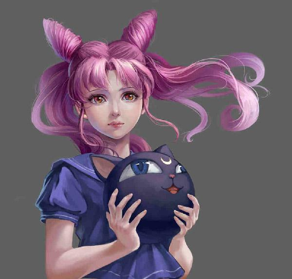 Looking a bit older than her Anime counterpart, Chibiusa here is drawn by 果子狸.  This illustration gives us the feeling of how Chibiusa would look in real life after a few years.
