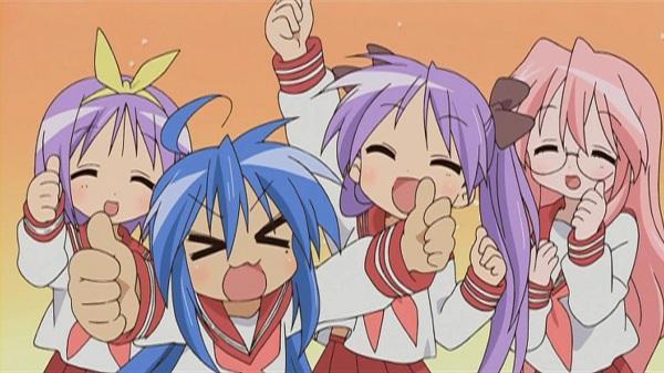 Konata Izumi, Kagami Hiiragi, Tsukasa Hiiragi, and Miyuki Takara (Lucky Star)