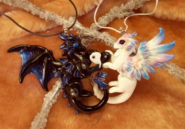 Love Dragons Black & White Necklace by Alvia Alcedo